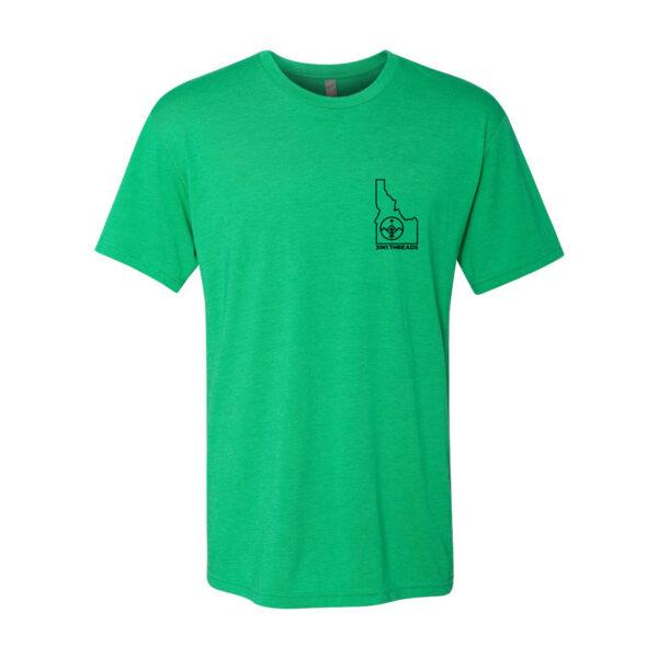 Custom T shirt design triblend Idaho minimalist by 3IN1 Threads - grass green