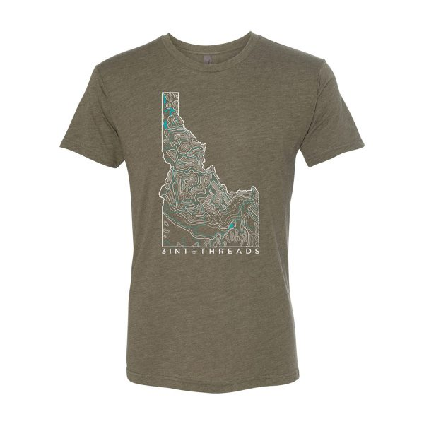 3IN1 Threads Topographic Triblend Custom Tshirt - Military Green