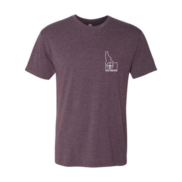 Custom T shirt design triblend Idaho minimalist by 3IN1 Threads - vintage purple